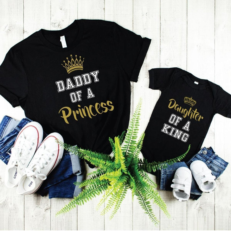 Daughter of King Daddy of princess matching shirts onesie for Daddy daughter - 18-24 months Kid Shirt / Black