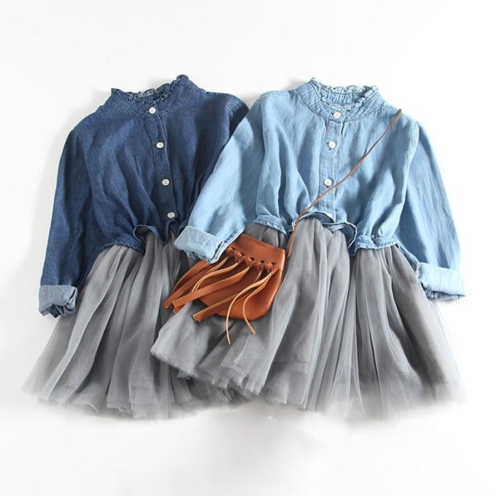 Denim Mesh Patchwork Long Sleeves Princess Dress for Girls