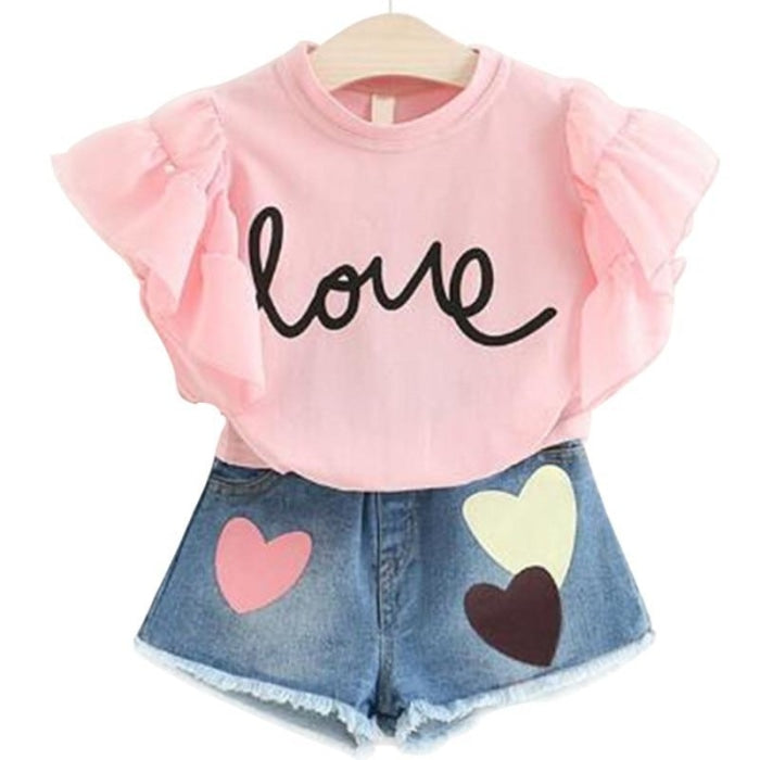 Denim Shorts Set for Girls