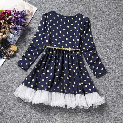 Dot Long Sleeves casual party dress for girls - Black / 2-3 years