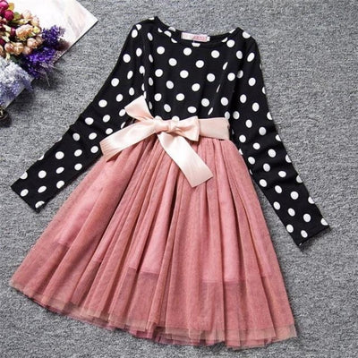 Dot Long Sleeves casual party dress for girls - Black + Pink / 2-3 years