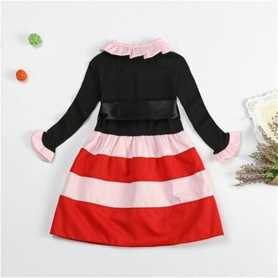 Dot Long Sleeves casual party dress for girls - Black + Red / 2-3 years