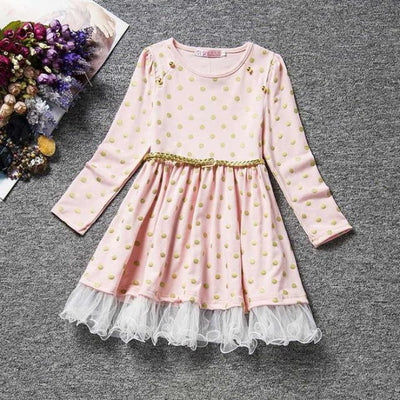 Dot Long Sleeves casual party dress for girls - Pale Pink / 2-3 years
