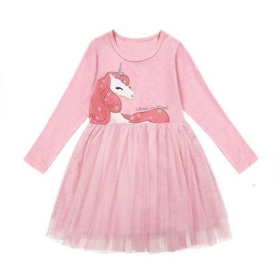 Dot Long Sleeves casual party dress for girls - Pink Unicorn / 2-3 years