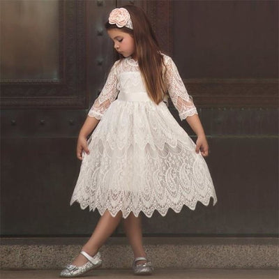 Dot Long Sleeves casual party dress for girls - White / 2-3 years