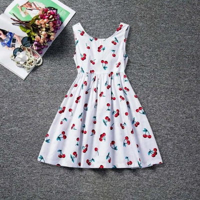 Dot Long Sleeves casual party dress for girls - White Cherry / 2-3 years