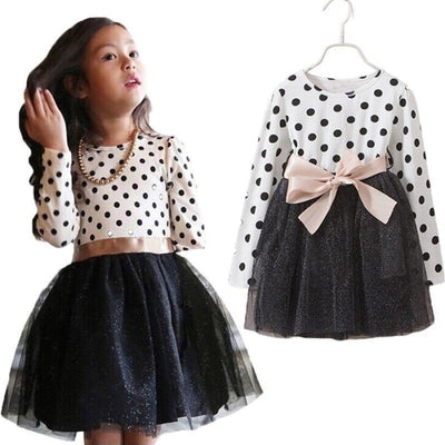 Dot Long Sleeves casual party dress for girls