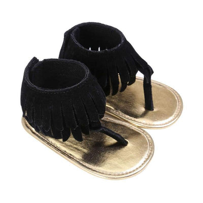 Double Tassel Sandals - Black / 1