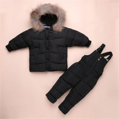 Down Feathered Unisex Ski suit - Black / 2-3 years