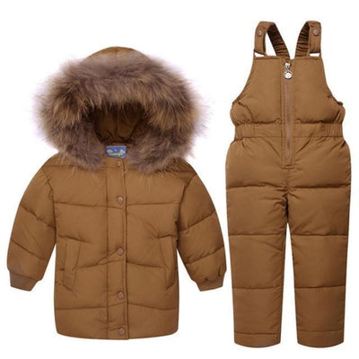 Down Feathered Unisex Ski suit - brown / 2-3 years
