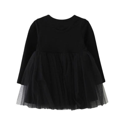 Dress Long Sleeve Baby Girls Tutu Dress - Black / 18-24 months