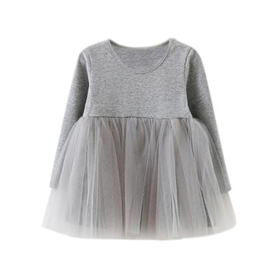 Dress Long Sleeve Baby Girls Tutu Dress - Gray / 18-24 months