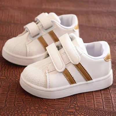 Dual Strap Breathable Sneakers for Kids Unisex - gold / 11