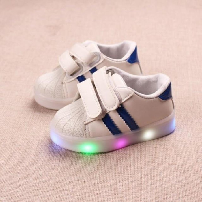 Dual Strap Sneakers with Lights Kids Unisex - Pink / 5.5