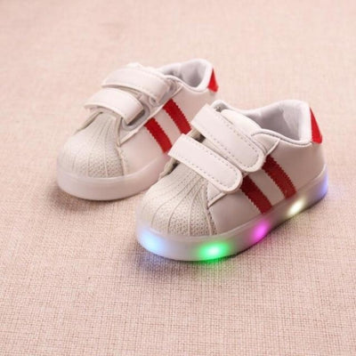 Dual Strap Sneakers with Lights Kids Unisex - Red / 5.5