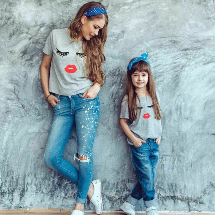 Eyelash Printed Tees for Mother and Daughter