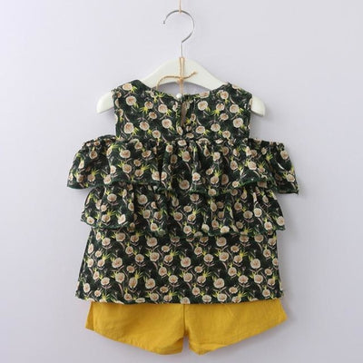 Fashion Floral Sleeveless Top & Shorts Set for Girls - Green Pattern / 2-3 years