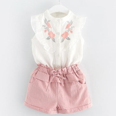 Fashion Floral Sleeveless Top & Shorts Set for Girls - White + Pink / 2-3 years