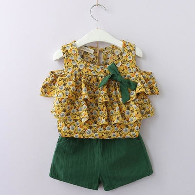 Fashion Floral Sleeveless Top & Shorts Set for Girls - Yellow + Green / 2-3 years