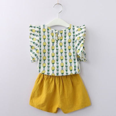 Fashion Floral Sleeveless Top & Shorts Set for Girls - Yellow Pattern / 2-3 years