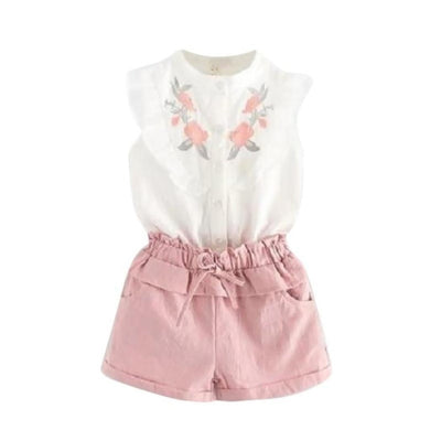 Fashion Floral Sleeveless Top & Shorts Set for Girls