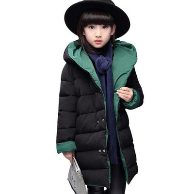 Fashion Thick Zippered Unisex Winter jacket for Kids - Black + Green / 2-3 years