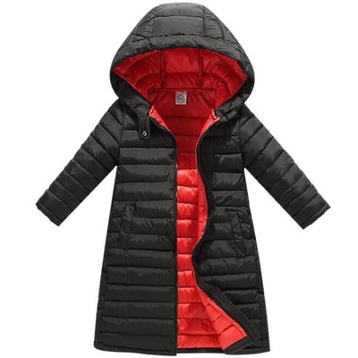 Fashion Thick Zippered Unisex Winter jacket for Kids - Black + red / 2-3 years