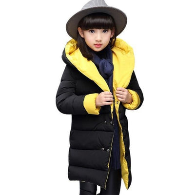 Fashion Thick Zippered Unisex Winter jacket for Kids - Black + yelllow / 2-3 years