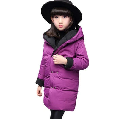 Fashion Thick Zippered Unisex Winter jacket for Kids - Purple / 2-3 years