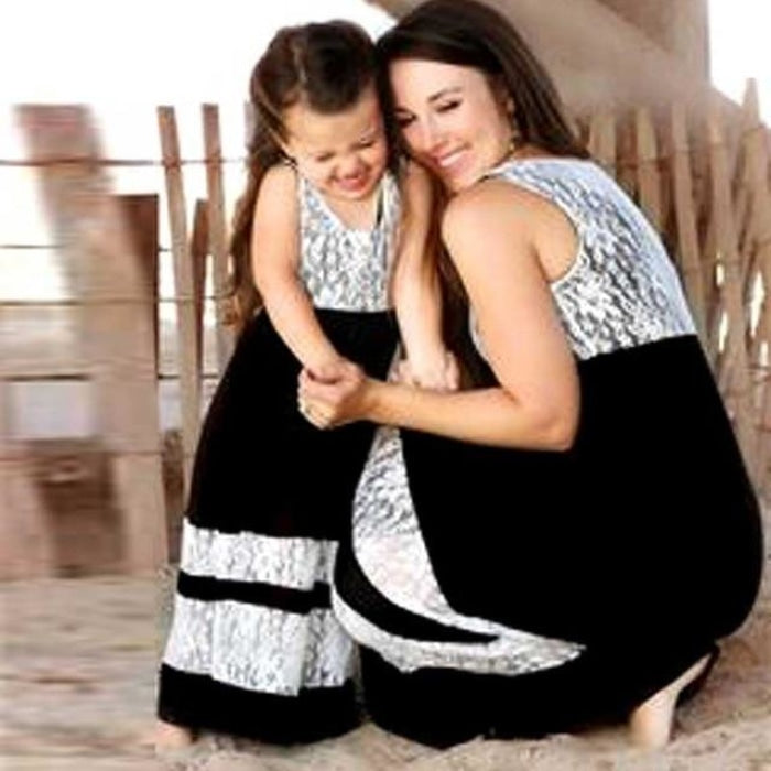 Fashionable Casual Matching Dress for Mother and Daughter