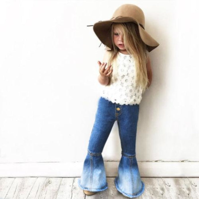 Fashionable Denim Bell Bottoms Jeans for Girls