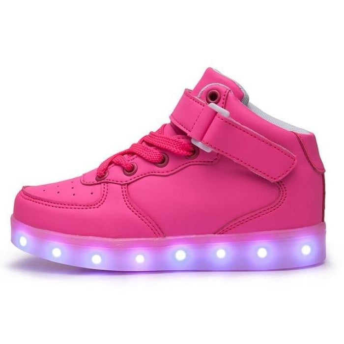 Fashionable Extreme Comfort Shoes with LED USB charging Girls - Pink / 11