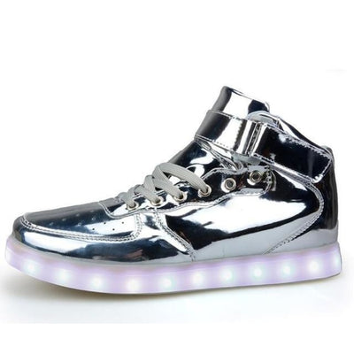 Fashionable Extreme Comfort Shoes with LED USB charging Kids Unisex - Silver / 11