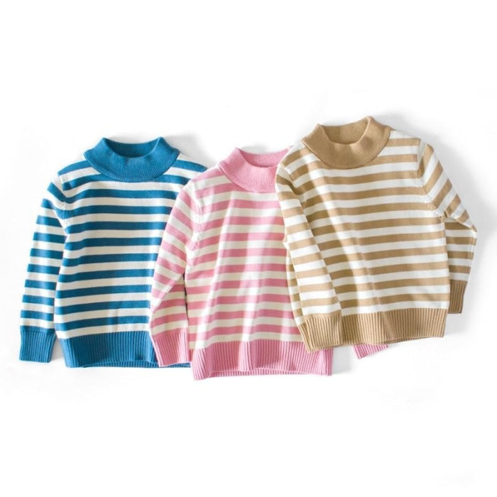Fashionable Striped Winter Pullover Sweater for Kids Unisex