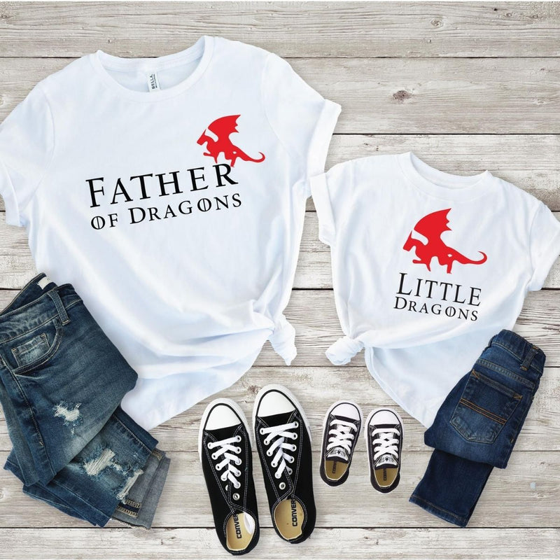 Father of Dragons Matching Shirts Onesie for Dad Baby Son - 18-24 months Kid Shirt / White