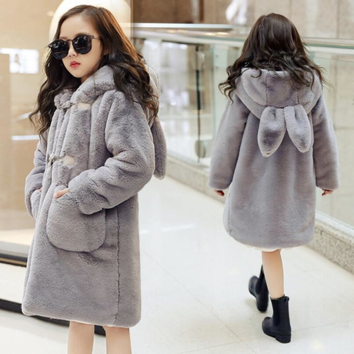 Faux Fur and Fleece Ear Hooded Outerwear Coat for Girls
