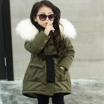 Faux Fur Collar Winter Outwear Jacket for Girls - GREEN / 3-4 years