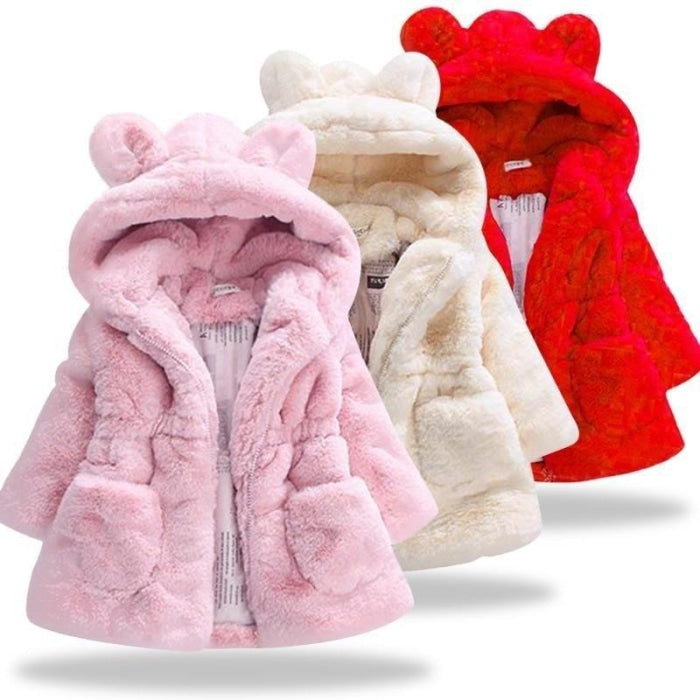 Faux Fur Rabbit Ears Winter Coat for Girls