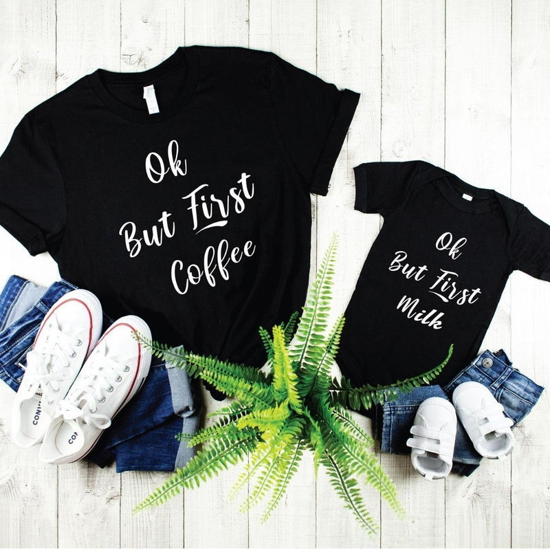 First Coffee Milk Funny Matching Shirts Onesie for Mom Father Son Daughter - New Born Onesie / Black