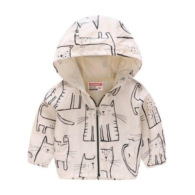 Floral Animal theme Jackets for Girls - cat-white / 18-24 months