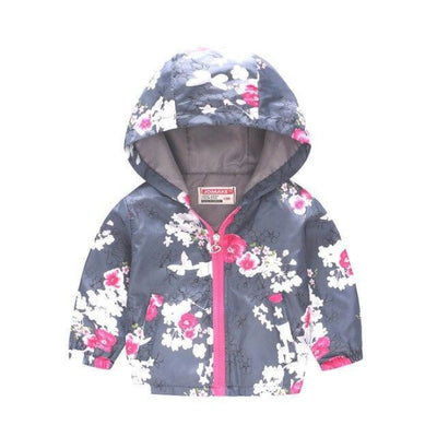 Floral Animal theme Jackets for Girls - floral-gray / 18-24 months