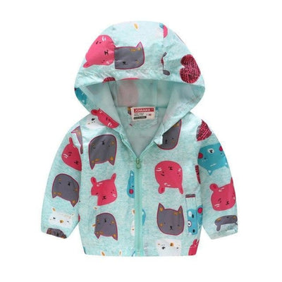 Floral Animal theme Jackets for Girls - monster-blue / 18-24 months