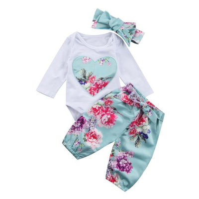 Floral long sleeve Jumpsuit with Pants + headwear for Newborn Baby Girl - Sky Blue / 9-12 months