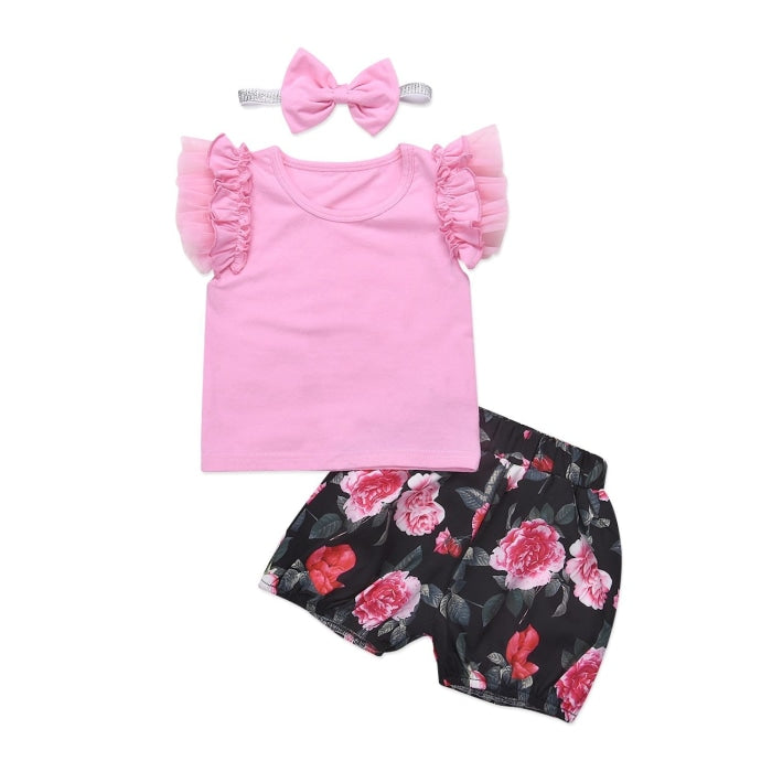 Floral Newborn Baby Girls Pink Ruffles T-shirt + Shorts Set