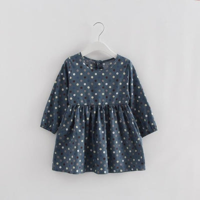 Floral pattern Cotton dress Girls - blue dot / 2-3 years