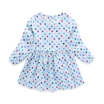 Floral pattern Cotton dress Girls - Light Blue / 4-5 years