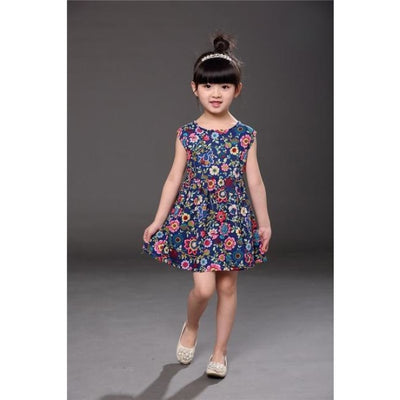 Floral pattern Cotton dress Girls - sleeveless navy / 2-3 years