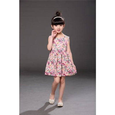 Floral pattern Cotton dress Girls - sleeveless pink / 2-3 years