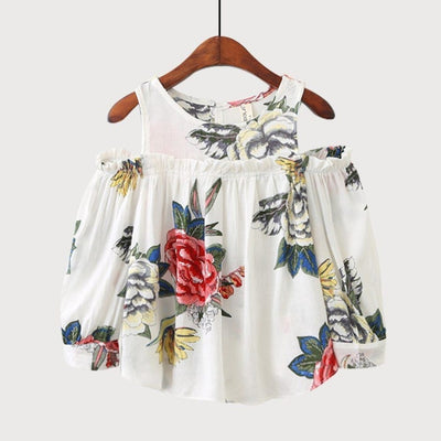 Floral Print Strapless Long Sleeve T-shirt Top for Girls