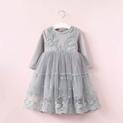 Floral Printed Children Toddler Party Dress - Gray / 2-3 years